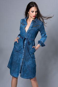 Kadın İndigo Midaxi Gömlek Elbise İS110