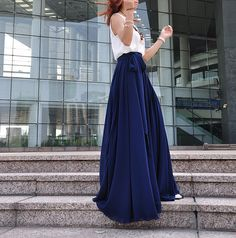 This convertible dress can be wear in 10+ styles, more options please visit: https://www.etsy.com/listing/540345535 ◆Description: This chiffon maxi skirt comes with full length ,elastic waist,big sweep,and bow ite chiffon waistband which is removable ,Very casual for summer,be