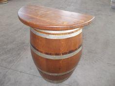 1738 - Mezza #barrique con retro e piano tavolo in abete massello mordenzato noce e lucidato a 2 mani - Briganti srl - Tel.0547 310171
