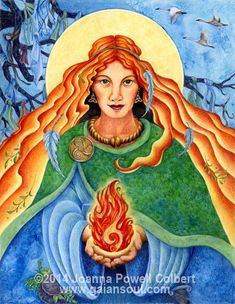 In this image, we see Brigid offering us her sacred fire —  The fire of creativity that brings forth poetry, music, and art; The fire in the...