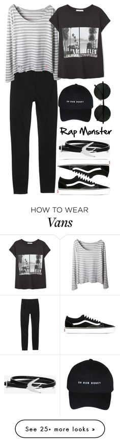 """""""Girlfriend Rap Monster"""" by evil-maknae on Polyvore featuring Monki, MANGO, Vans and McQ by Alexander McQueen"""