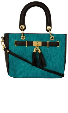 teal and black handbag with gold accents