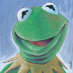 Kermit the Frog Done on 6x6 inch Aquabord with Winsor & Newton Gouache Paints