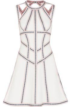Hervé Léger - Cutout Embroidered Stretch Pointelle-knit Mini Dress - White