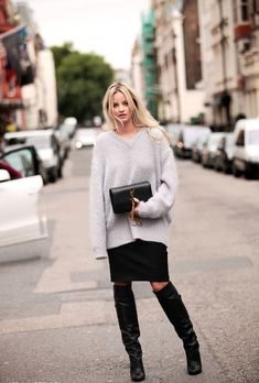 Black knee high boots and grey cozy knit - YSL bag - Amsterdam. #AnoukYve #streetstyle