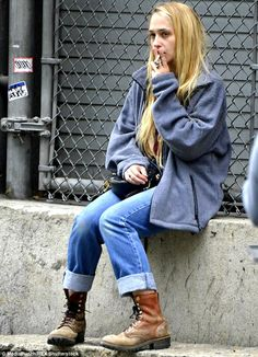 Smoke break: On the set, Jemima Kirke was seen puffing on a cigarette in between takes