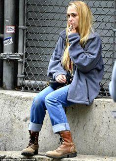Smoke break: On the set, Jemima Kirke was seen puffing on a cigarette in between takes