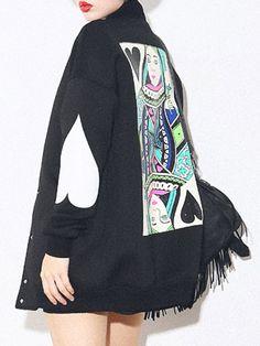 WithChic Black Poker Print Bomber Jacket