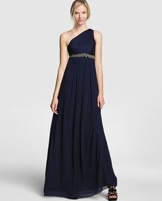 Vestido largo de mujer Easy Wear con cuello desigual y detalle de pedrería