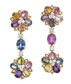 PAIR OF DIAMOND AND MULTI COLOURED SAPPHIRE 'FLORA' EARRINGS, BULGARI