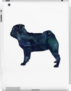 Pug Toy Breed Dog Black Watercolor Silouhette by TriPodDogDesign