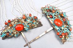 Pair of kingfisher , carnelian and glass pearl hair ornaments, China, 19th c   (colection of Linda Pastorino)