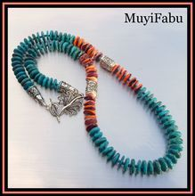 Turquoise and Spiny Oyster Southwestern Necklace /  14mm blue/green turquoise with natural orange spiney oyster shell disk beads (spiney oyster is found in the Sea of Cortez, Baja California, Mexico). Each bead is strung with 4mm turquoise spacers to allow maximum flex and movement to the strand / 203