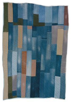 """Annie Mae Young - """"Bars"""" work-clothes quilt - c. 1970 Denim, corduroy, cotton/polyester blend 108 x 76 inches"""