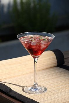 A pre dinner #cocktail that goes well with Mediterranean food.    Makes 2 shots:    1/4 of a red pepper  4 sprigs of fresh thyme  3oz of Croft #Pink    Muddle the red pepper and the thyme. Add the port and shake well. Fine strain into a pre-chilled glass.