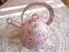 ROMANTIC PINK ROSE TEA KETTLE hp chic shabby vintage cottage hand painted coffee #Unbranded