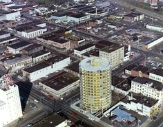 March Aerial of downtown Vancouver. Smith Tower is tall yellow building. Vancouver Washington, Downtown Vancouver, Washington State, Old Images, Old Photos, Historical Pictures, Pacific Northwest, Empire State Building, Beautiful Places
