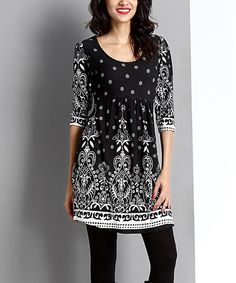 Look at this Black Suzani Empire-Waist Tunic on #zulily today!