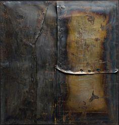 Grande ferro M 4 (Large Iron M by Alberto Burri. Guggenheim Museum, New York; Medium: Welded iron sheet metal and tacks on wood framework; Italian Painters, Italian Artist, Alberto Burri, Iron M, Information Art, Museums In Nyc, Found Object Art, Guernica, Artwork Images