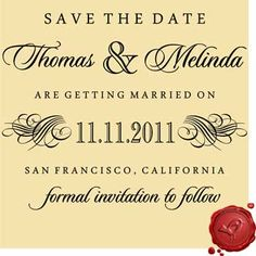 SAVE THE DATE Custom Wedding Stationary DIY Stamp #6003