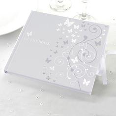 Hochzeitsgästebuch - Gästealbum - silberne Herzen/Schleife - ein Designerstück von Lolima-Shop bei DaWanda