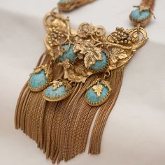 The original wearer of this necklace from the era would have been firmly in the midst of the energetic cultural upheavals that were taking place, not shying away from wearing the big, bold styles. Period 1960 ' s - 70 's. Bridal Jewellery Inspiration, Gold Jewellery Design, Ear Jewelry, Beaded Jewelry, Gold Choker Necklace, Turquoise Glass, Design Development, Luxury Jewelry, Necklace Designs