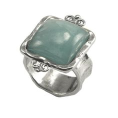 Silver Ring with Milky Aquamarine