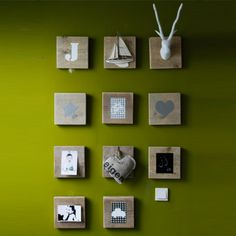 cute, would work with square frames or shadow boxes. It'd be a cute way to hide something on the wall (thermostat, light switch) as well if using some kind of box that can open and close Pallet Art, Inspiration Wall, Kidsroom, Baby Decor, Wooden Diy, Diy Art, Decorating Your Home, Gallery Wall, Diy Crafts