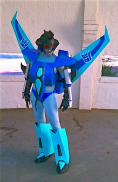 Me modeling my homemade Transformers Animated Slipstream costume created by my husband and I. This is also moments before he proposed to me.