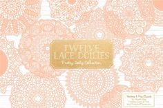 Peach Lace Doilies, Lace Vectors by Amanda Ilkov on @creativemarket