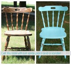 How to distress furniture with spray paint and a sander to achieve an aged look.