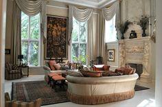 #Sofa #Elegant #Curtains #Fire #Place #Art #Bench #Lamps #Feathers #Interior #Design #Kom #Elegante
