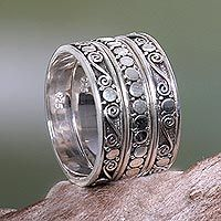 Sterling silver stacking rings, 'Together' (set of 3) - Handmade Sterling Silver Stacking Rings (Set of 3)