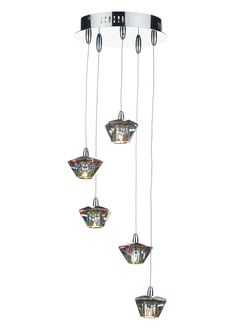 Jewel 5 Light Ceiling Light. The Jewel 5 Light Ceiling Light is a gorgeous design from PAGAZZI Lighting. The ceiling pendant light is finished in polished chrome and glass and features five lamps which suspend at varying heights. The glass lamps have beautifully crafted shades which enhance the light emitted.