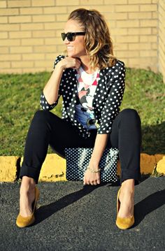 Polka dot clutch from T.J.'s! #maxxstyle  Love the polka dots and the Black and White trend with a pop of yellow! So Hot!