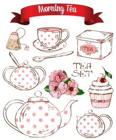 Shabby Chic Tea Party Morning Breakfast Set Digital Clip Art Embellishments Printable Clipart Instant Download Commercial Use