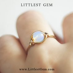 Solitaire Opalite ring - unique rings - custom - wire wrapped ring