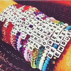 NEED Little Words Project Bracelets! Use my code at checkout: SarahRich at 1 … - kandi bracelets Rave Bracelets, Pony Bead Bracelets, Friendship Bracelets With Beads, Bracelets With Meaning, Summer Bracelets, Pony Beads, Trendy Bracelets, Homemade Bracelets, Letter Beads