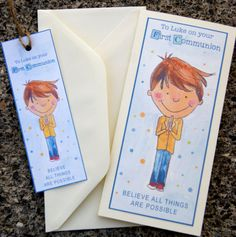 Items similar to Boys Personalised First Holy Communion Cards/Keepsake Bookmark for Communion on Etsy Custom Bookmarks, First Holy Communion, Your Message, Your Cards, Holi, Thankful, Messages, Children, Prints