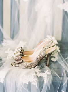 Glittery gold bow Kate Spade NY shoes: Photography : Graham Terhune Photography Read More on SMP: http://www.stylemepretty.com/2016/03/29/college-sweethearts-plan-an-authentic-family-focused-wedding/