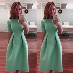 Elegant Women Casual Long Dress Short Sleeve High Waist Slim Solid Cute Dress $9.91