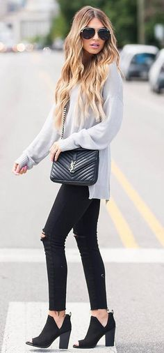 fall outfit obsession sweater + bag + black ripped jeans + boots