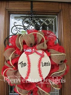 Deco Mesh & burlap wreath my favorite wreath but our would be softball of course Baseball Wreaths, Baseball Crafts, Sports Wreaths, Baseball Mom, Softball Wreath, Baseball Numbers, Baseball Stuff, Baseball Party, Wreath Crafts