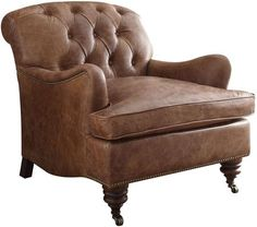 Acme Furniture Durham Collection 96677 31 Inch Accent Chair with Removable Seat Cushion, English Curved Arms, Metal Caster Front Legs and Top Grain Leather Upholstery in Retro Brown Color Swivel Club Chairs, Swivel Armchair, Upholstered Dining Chairs, Leather Club Chairs, Acme Furniture, Furniture Outlet, Online Furniture, Furniture Ideas, Barrel Chair