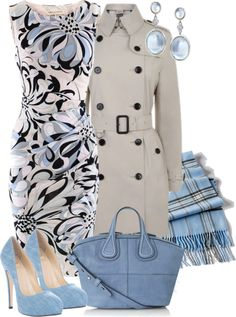"Azul, cinza, preto. Chic ! ""floral dress"" by sagramora on Polyvore"