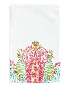 Peacock Face Cloth, White/Pink - Dena Home
