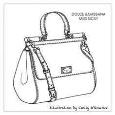DOLCE & GABBANA - MISS SICILY BAG - Iconic Famous Designer Handbag Illustration / Sketch / Drawing / CAD / Borsa Disegno / Product illustrator / Product Design / Illustrazioni Borse / styliste sac à main