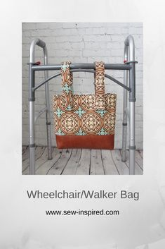 This wheelchair/walker tote features adjustable straps that open on one end using velcro strips. There is one outside pocket and two inside pockets to hold your keys, phone and pens. The top of the bag closes with a magnetic snap. Fabric is a scroll print by Joel Dewberry.