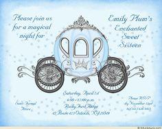 Light Blue Starry Night Crown Sweet 16 Magical Invitation Design