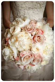 Soft pink peony and cream rose bouquet